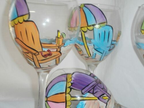 HAND PAINTED BEACH CHAIRS/UMBRELLA SCENE19 OUNCE GOBLETS/ SET/4(MADE IN THE USA)