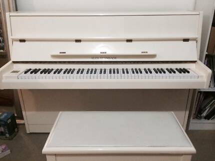 Alex Steinbach white enamel upright piano