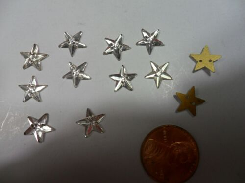 """Vintage Clear Glass Mini Stars 7/16""""  made in Western Germany lot of 12"""
