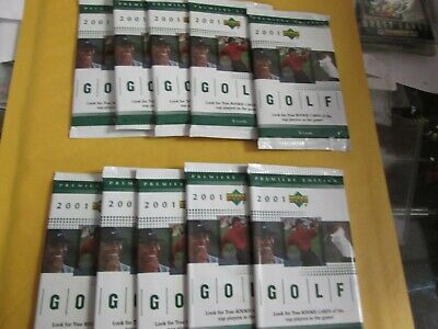 2001 Upper Deck Golf Premiere Edition 10  packs Tiger Woods Rookie year