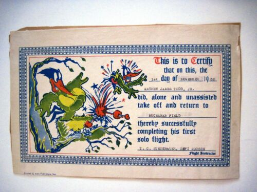 "1952 ""Solo Flight"" Certificate w/ Colored Picture of ""Woody Woodpecker""  *"