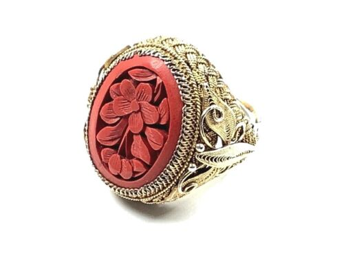Chinese Export Vermeil Filigree Ring w/Floral Carved Red Cinnabar, Adjustable