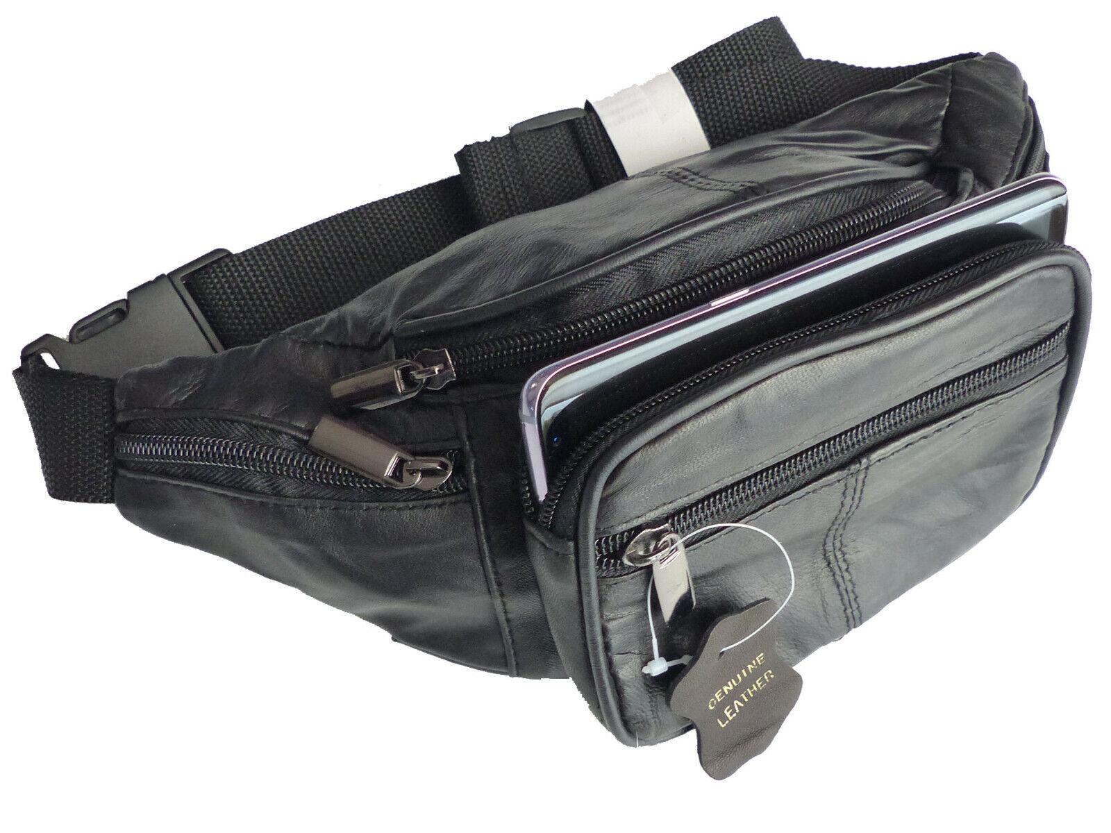 Bauchtasche in Echt Leder mit 6x Rv Fächer Schwarz Umhängetasche LK568 Gürteltas