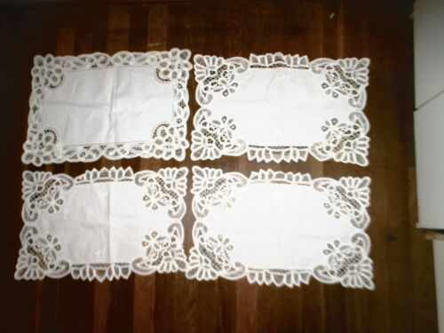 "lot of 4 vintage place mats embroidery lace trim 18"" X 12"" size"