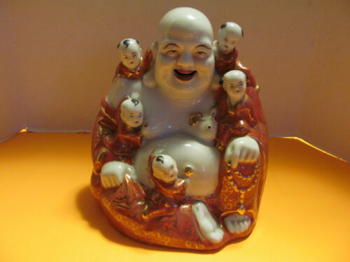 Antique Famille Rose Porcelain Happy Buddha w 5 Boys Deco
