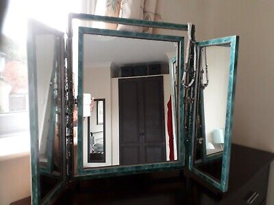 Original 1930s green art deco triple dressing table mirror.