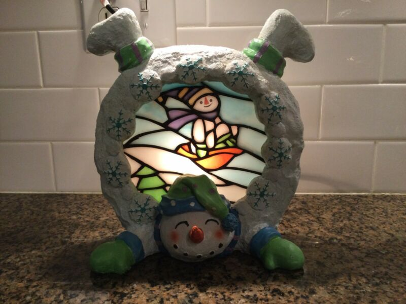Stained Glass Snowman Lamp