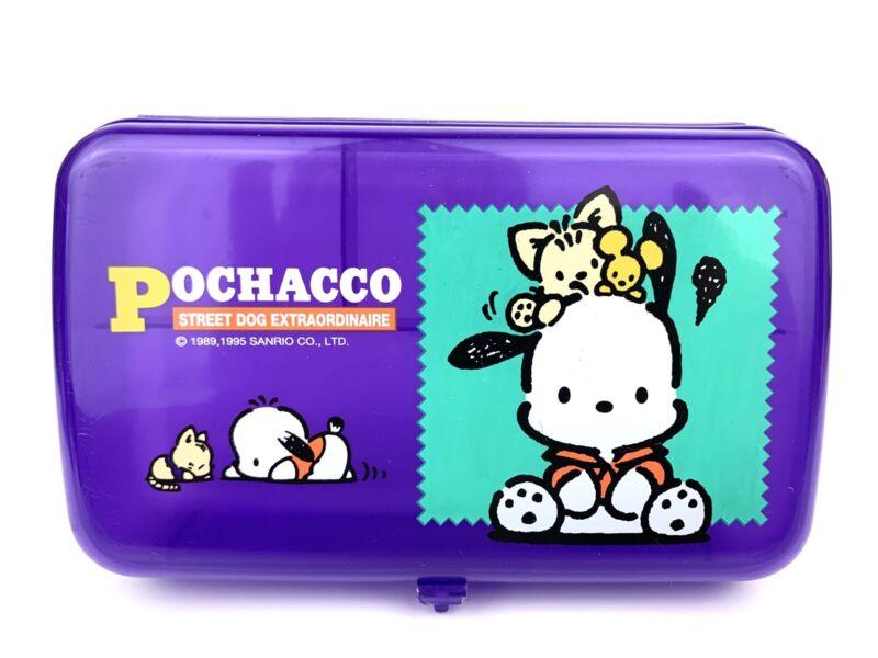 Vintage Sanrio 1995 Pochacco Pencil Pen Case School Stationary Box Purple Rare