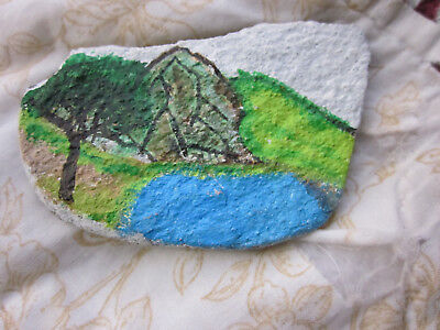 Hand Painted River Rock Stone Summer Landscape Tree Mountain Hill Lake Pond 4x3