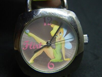 ney Watch  /green leather band /new battery  (Tinkerbell Band)