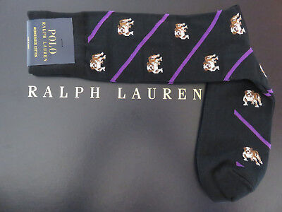 Polo RALPH LAUREN Socks Bulldog Black and Purple Striped Mercerized Cotton