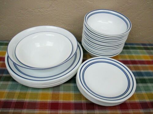 Corelle Classic Cafe White w/Blue Stripes Bowls Plates Dishes **by the piece**