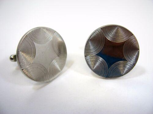 Vintage Cufflinks Cuff Links: Round Half Circle Texture Silver Tone