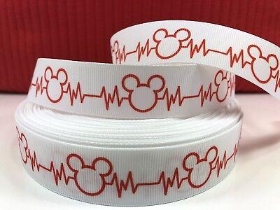 By The Yard 1 Inch Printed Disney Mickey Mouse Heart Beat Grosgrain Ribbon Lisa - Ribbon Heart