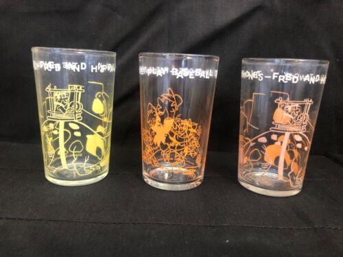 VINTAGE 1962/64 The FLINTSTONES Lot of 3 Juice/Jelly Glasses Hanna-Barbera