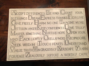 Wall plaque.  Cream stone wall plaque with inspiring words.