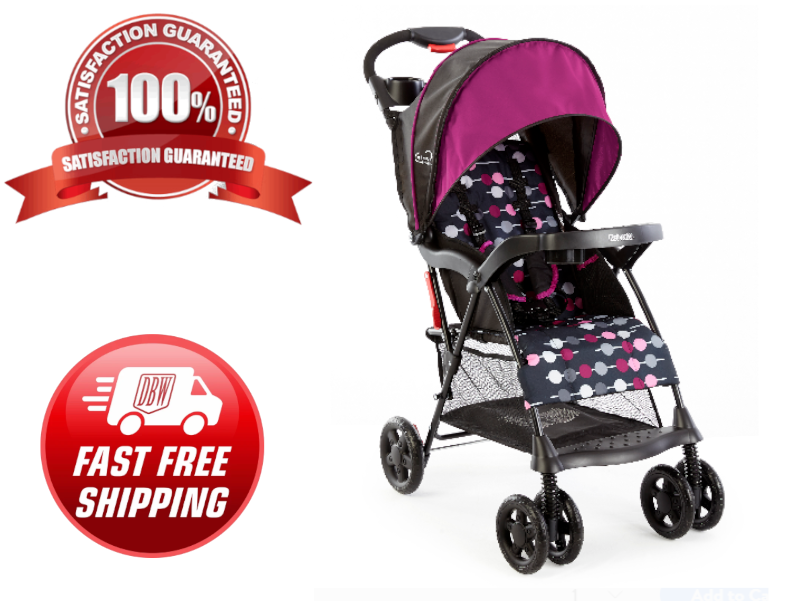 Girl's Lightweight Single Baby Stroller Folding Umbrella Inf