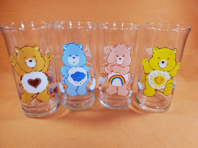 Care Bears Pizza Hut Glasses Set Of Four (4) Vintage 1983 American Greetings