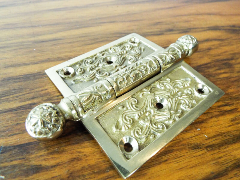 "Vintage Solid Brass Door 3"" Hinge Heavy Duty Decorative Antique Gate Hardware"