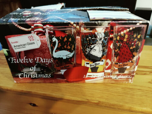 Vintage Twelve Days of Christmas Beverage Set of 12 w/ Box American Glass