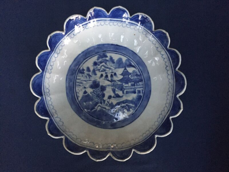 """Antique Chinese Export Blue & White Canton Scalloped Bowl 10"""""""