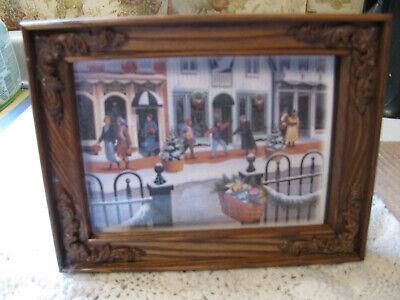 "Longaberger Framed CC Christmas Card Print  ""Shopping on Main Street"""