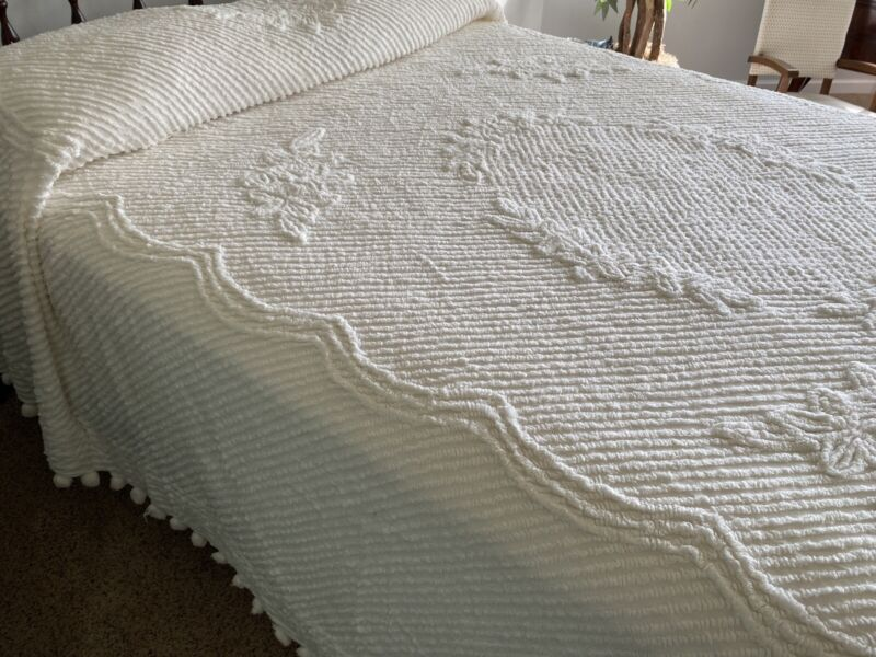 "Chenille Bedspread White on White' 90""x 92""  Sculptured with Pom Pom Fringe"