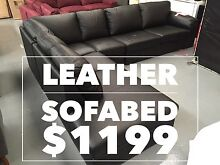 Black Leather Corner Lounge - with Sofabed REDUCED to $1000 Dandenong South Greater Dandenong Preview