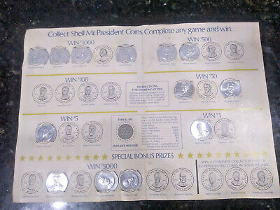VINTAGE 1968 MR. PRESIDENT SHELL OIL GASOLINE 13 COINS & GAME BOARD COLLECTIBLES