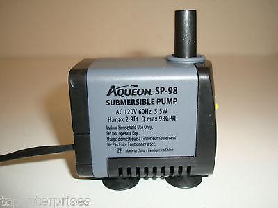 Aqueon SP-98 Miniature Submersible FOUNTAIN or AQUARIUM Pump 98 GPH 120 volt