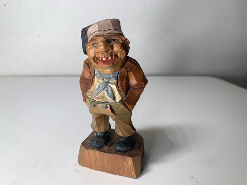 """Vintage Anri? Laughing Man Hand Carved Solid Wood Figurine 4"""" tall"""