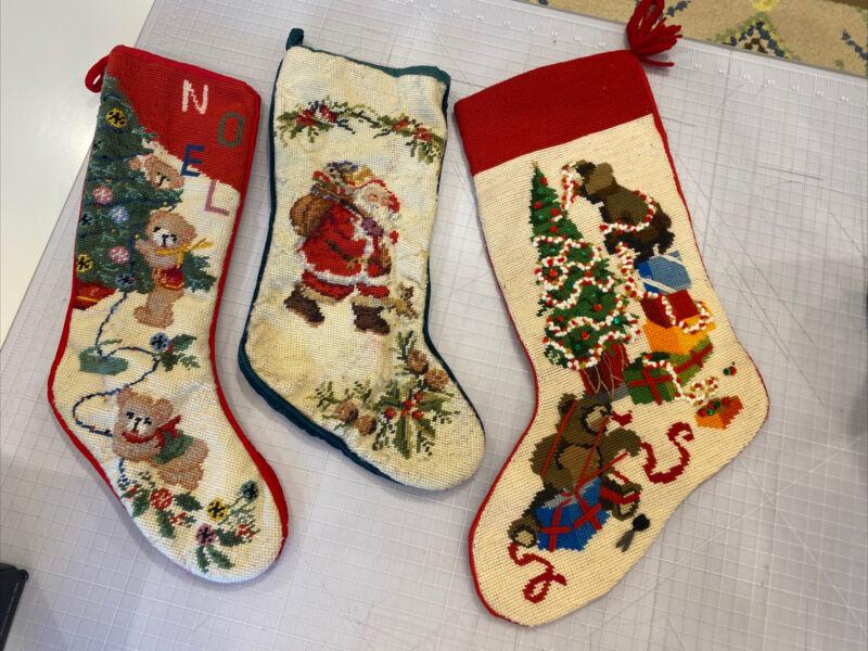 Vintage Needlepoint Tapestry Wool Christmas Stockings Santa Tree Bears Lot 3