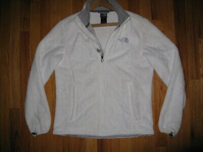 The North Face Women's sz MEDIUM White Long sleeve full zip Osito Jacket Coat