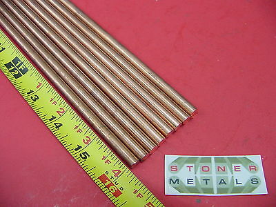 8 Pieces 14 C110 Copper Round Rod 16 Long H04 Solid Cu New Lathe Bar Stock
