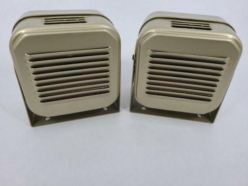 2 x Vintage MISCO Radio Gold Speaker With Mounting Bracket