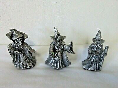 """Collection of Three Wizard Figurines 3.75"""" Tall Crystal Ball"""