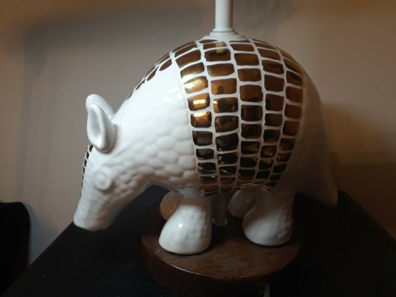 Vintage Porcelain Armadillo Lamp With Gold Leaf/ Gold Plating