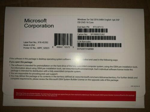 Microsoft Windows Server Standard 2016 x64 16 core with Dvd + Product Key