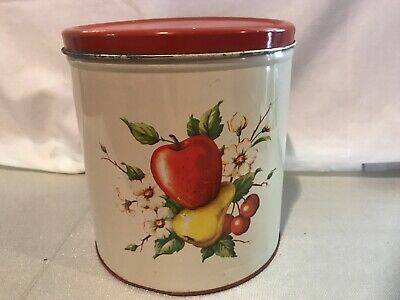 VINTAGE 50'S METAL TIN CANISTER FRUIT RED WHITE FARMHOUSE KITCHEN DECOWARE