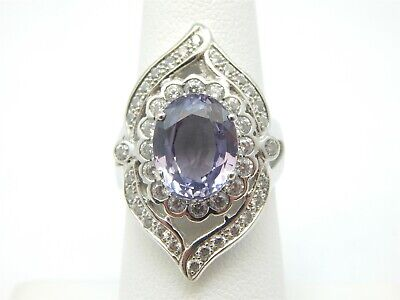 925 STERLING SILVER 4 CARAT OVAL CREATED CEYLON SAPPHIRE STATEMENT RING SIZE 6 Ceylon Lab Created Sapphire Ring