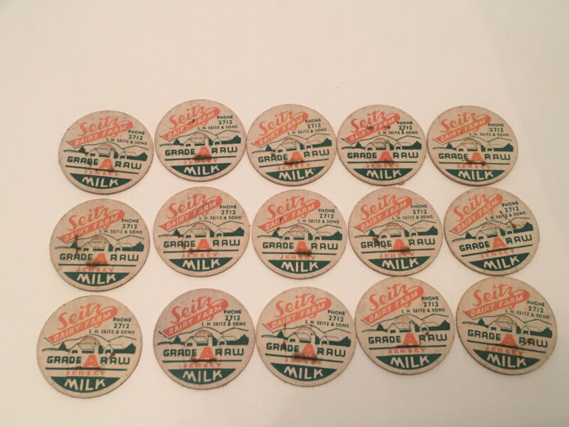 SEITZ DAIRY FARM MILK BOTTLE CAPS LOT OF 15