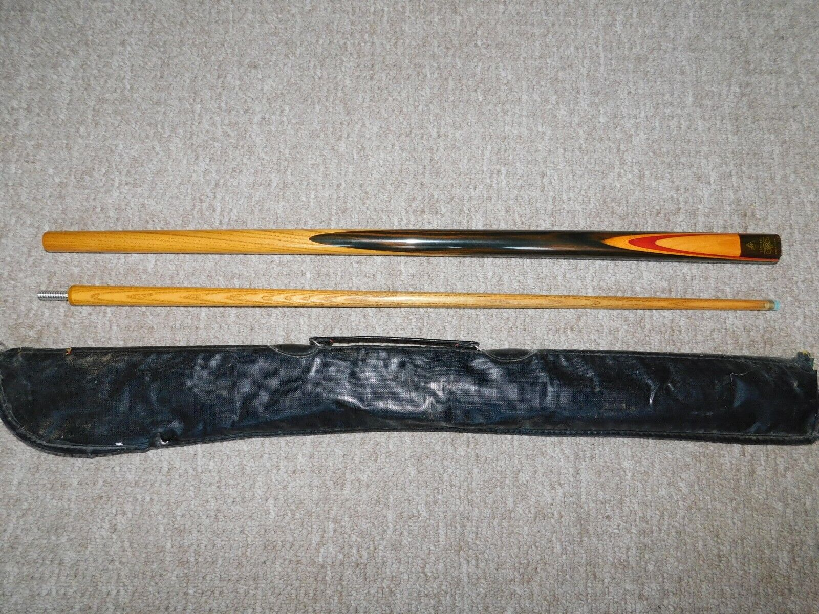 BCE Spectre 2 piece Snooker/Pool Cue, in a case, used.