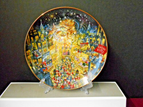 """Franklin Mint Bill Bell Decorative """"Purring In The New Year """" Cat Plate 8 1/8"""""""