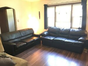 Black Leather Sofa and Love Seat Set -MUST GO