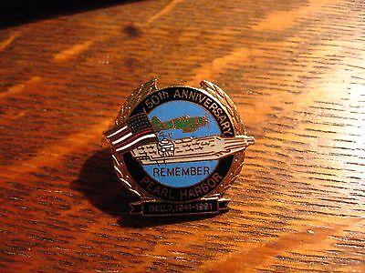 Pearl Harbor Lapel Pin - Vintage 1991 Honolulu Hawaii USA Navy Anniversary pin