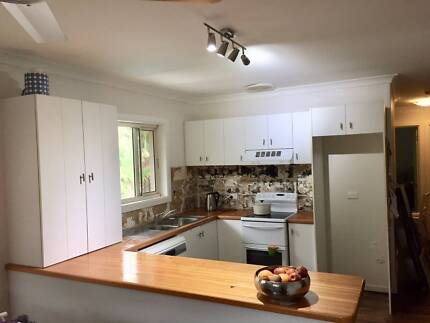 kitchen, wooden benches, range hood, sink and tap for sale.