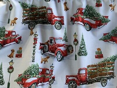 Christmas Valance With Vintage Red Trucks, Christmas Trees, Dogs. New Handmade