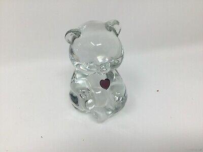 Figurine Birthstone Bear - Vintage February Birthstone Glass Heart Bear Figurine Paperweight Fenton