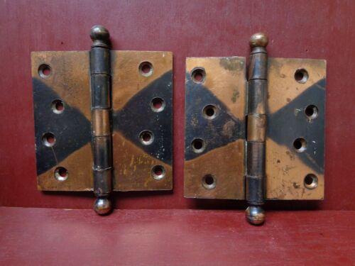 """2 ANTIQUE 4""""X 4"""" COPPER FLASHED DOOR HINGES #2"""