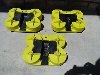 Lot Of 3 Gondola Skate Store Fixture Mobilization Yellow With 4 Caster Wheels